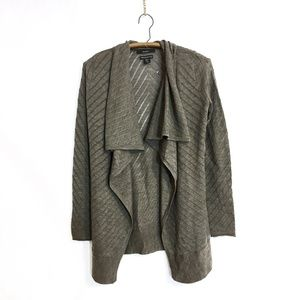 Tahari Pointelle Draped Open Cardigan in Beige